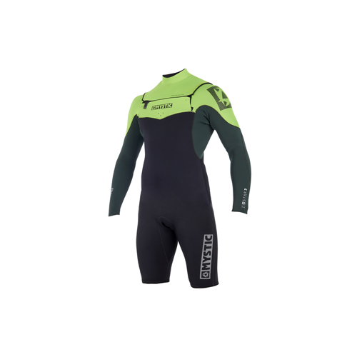 mystic star langearm shorty 3/2 mm dubbele borstrits heren wetsuit teal