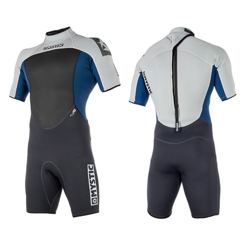 mystic brand shorty 3/2 mm rugrits flatlock heren wetsuit blauw