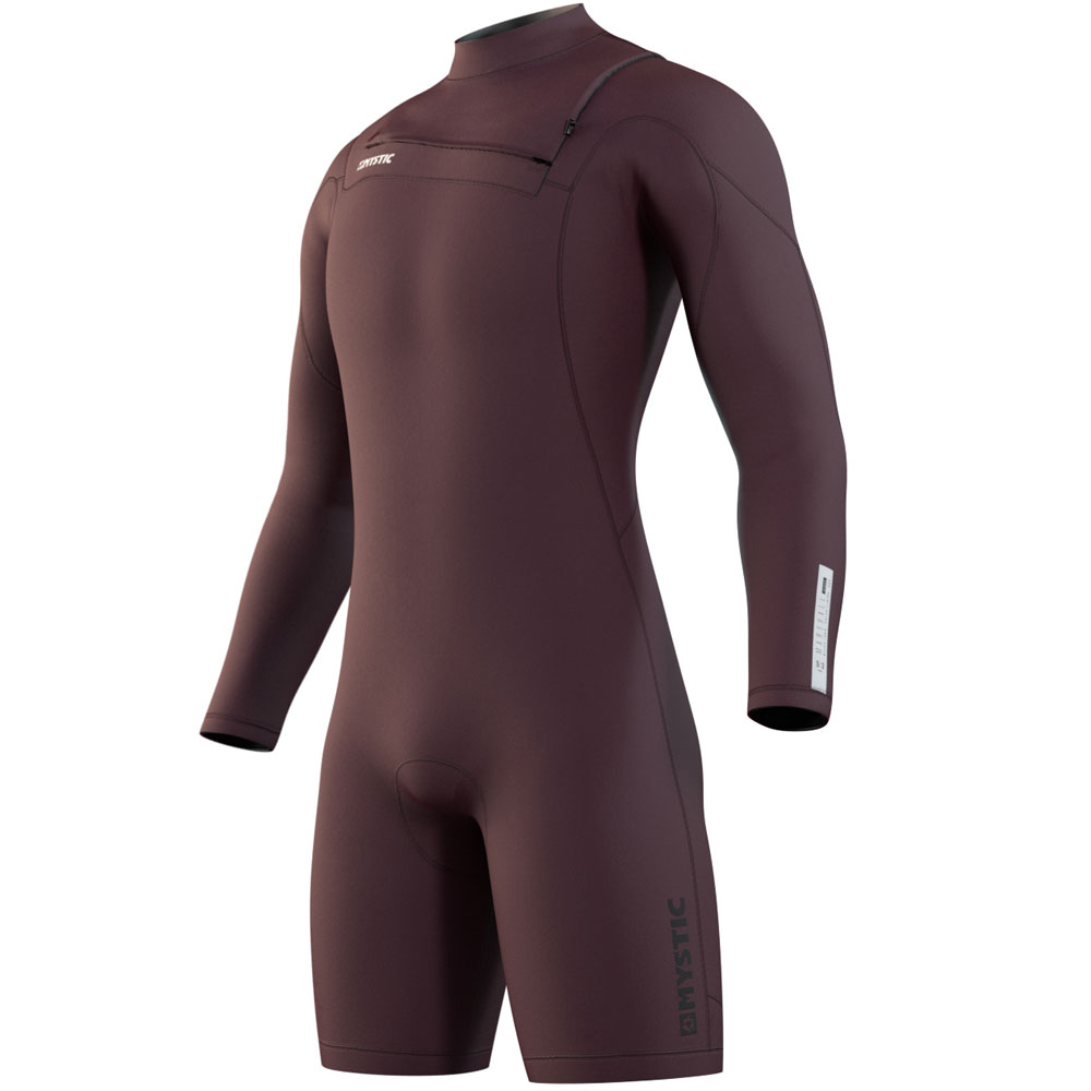 Marshall lange mouwen Shorty 3/2mm borstrits Merlot rood heren wetsuit