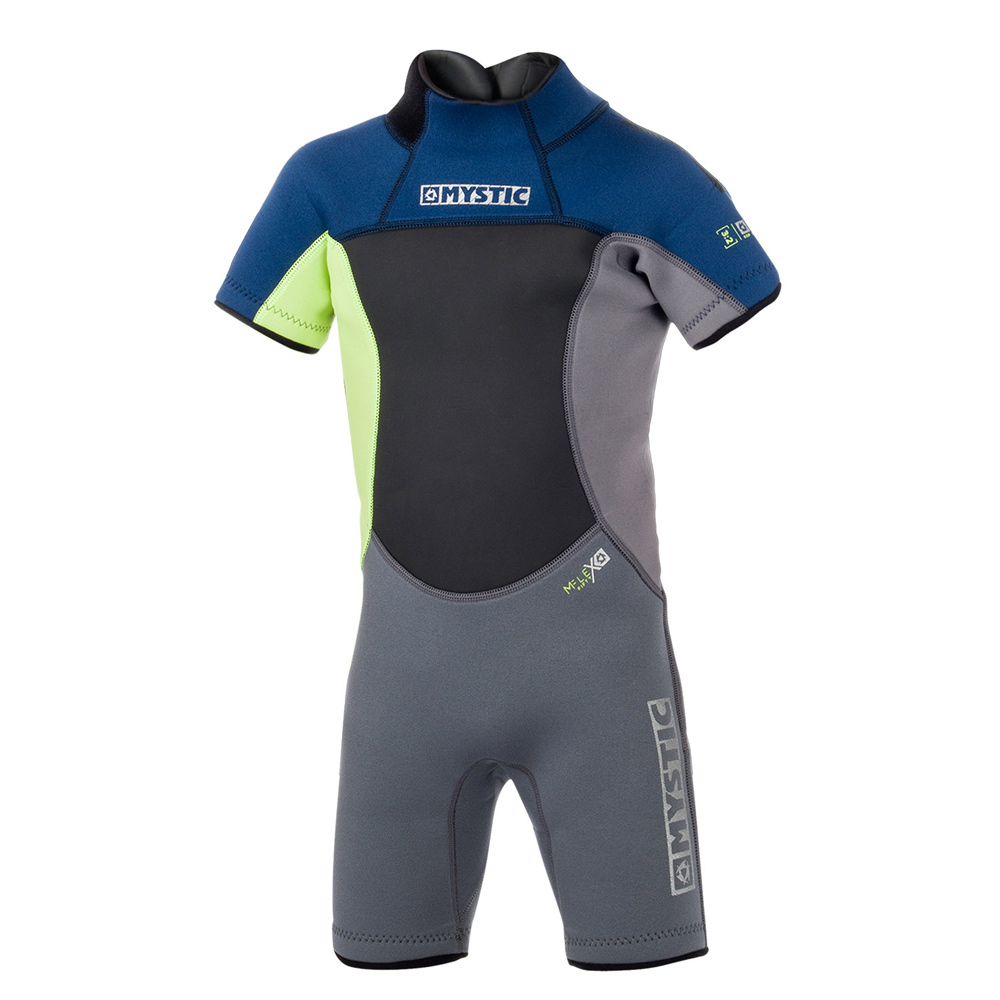 mystic star shorty 3/2 mm rugrits flatlock kinder wetsuit blauw junior