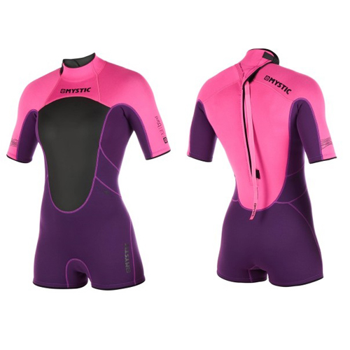 mystic brand shorty 3/2 mm rugrits flatlock dames wetsuit paars