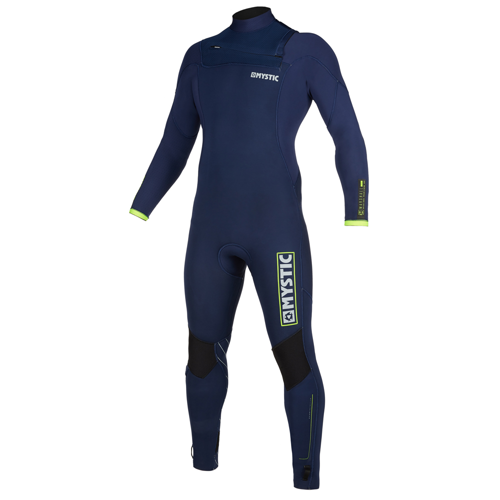 mystic Marshall Fullsuit 3/2mm borstrits wetsuit heren Navy/Lime