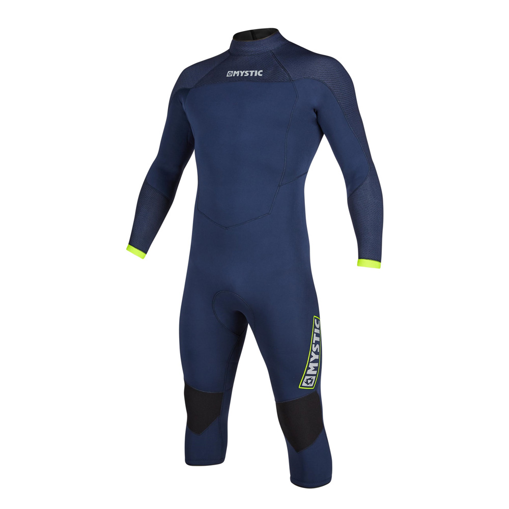 mystic Marshall lange mouwen Shorty 4/3 rugrits wetsuit heren Navy/Lime